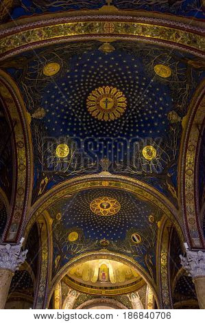 JERUSALEM, ISRAEL - MAY 12: Interior of the Church of All Nations or Basilica of the Agony on the Mount of Olives in Jerusalem, Israel on May 12, 2017
