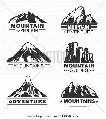 Mountain and outdoor adventure logo set isolated vector illustration. Tourism, climbing, hiking and camping vintage label. Mountain expedition, professional alpinism, extreme mountaineering symbol