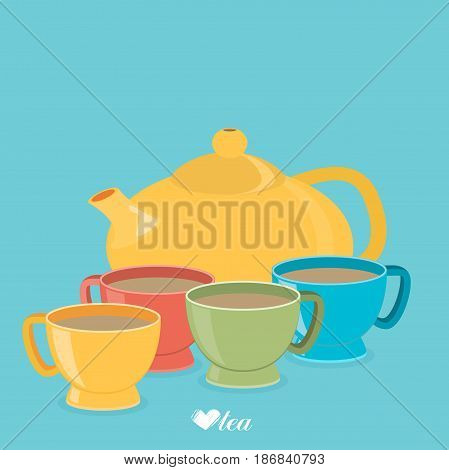 Teapot And Color Cups. Vector Illustration Eps 10