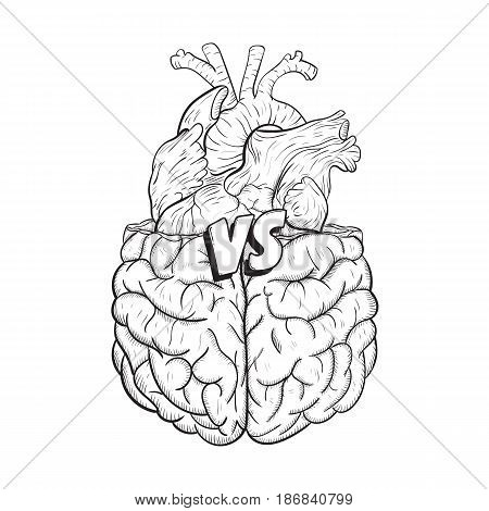 Heart vs brain. Concept of mind against love fight, difficult choice. Hand drawn black and white vector illustration