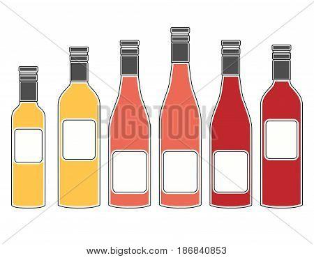 Set Of Bottles Of Wine, Flat Design