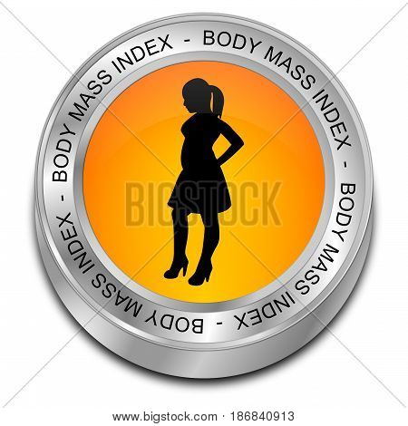 orange Body Mass Index Button - 3D illustration