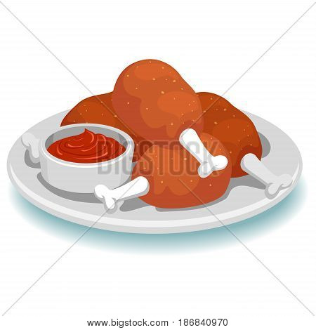 Vector Illustration of Fried Chicken with Sauce Dip