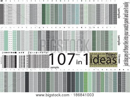 up to hundred Universal different vector seamless patterns Endless tiles texture can be used for fashion design pattern fills web page background surface textures. Set of monochrome geometric ornaments.