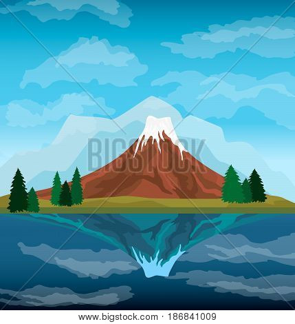 Nature mountain landscape background vector illustration. Blue sky and ancient volcano near lake. Tourism organization, extreme travel and hiking, mountaineering and outdoor adventure backdrop