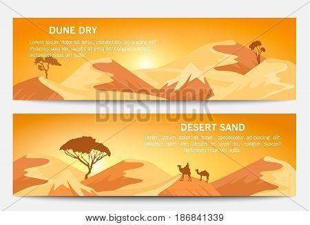 Desert sand landscape banner set vector illustration. Blue sky and yellow sand dunes, dry desert mountain sandstone under sun backdrop. Outdoor adventure, nature travel and tourism background.