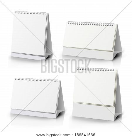 White Blank Paper Desk Spiral Calendar. Spiral Calendar Vector Template. Vertical Table Calendar