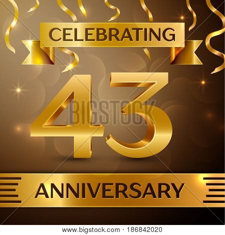 Forty three Years Anniversary Celebration Design. Confetti and gold ribbon on golden background. Colorful Vector template elements for your birthday party. Anniversary ribbon