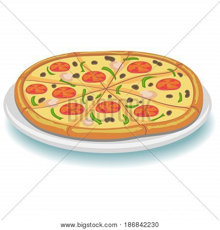 Vector Illustration of Whole Pepperoni Pizza on Plate