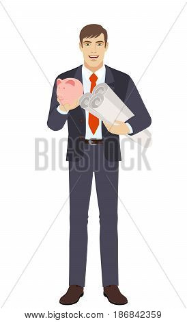 Businessman with piggy bank holding the project plans. Full length portrait of businessman character in a flat style. Vector illustration.