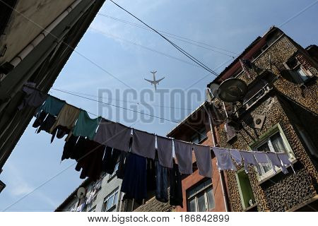 Airplane Passing Over Balat District Istanbul City