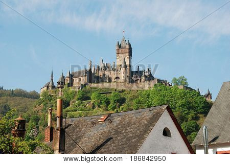 Cochem castle from Cochem-Cond Germany in Springtime