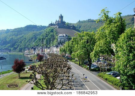 Cochem main street & castle on river Mosel in Germany