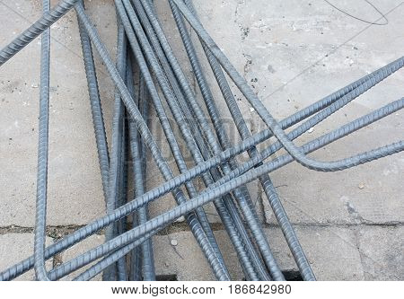 Soft focused picture of Re-bar stee or deformed bar for constructure building