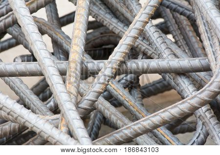 Soft focused picture of Re-bar steel for contracture building