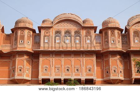 JAIPUR, INDIA - FEBRUARY 16: Detail of traditional house in Jaipur, Rajasthan, India. Jaipur is the capital and the largest city of Rajasthan on February 16, 2016.