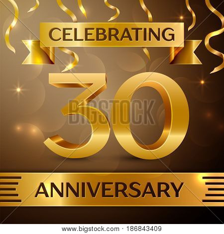 Thirty Years Anniversary Celebration Design. Confetti and gold ribbon on golden background. Colorful Vector template elements for your birthday party. Anniversary ribbon