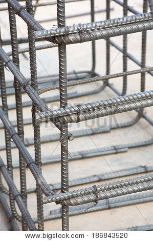 Soft focused picture of Wire tie with steel cage for column footing