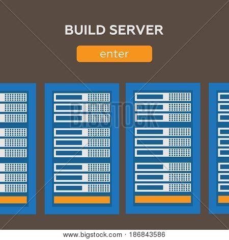 Data Center And Hosting Vector Banners Set. Network Internet Dat