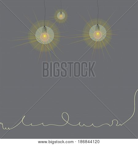 abstracyion with lamp, gray background with hand drawn lamps