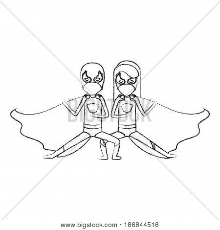 monochrome blurred contour faceless of duo of superheroes in defensive pose and her with straight long hair vector illustration