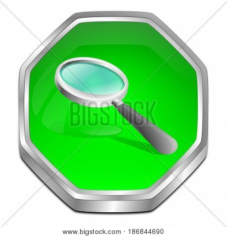 green magnifying glass button - 3D illustration