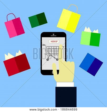 online shopping concept,hand buying with cellphone,shop online