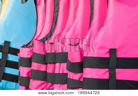 Soft focused picture of Pink and blue Life jacket