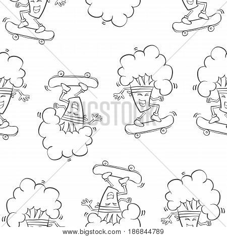 Hand draw broccoli pattern style vector illustration