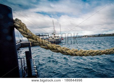 Rope overlooking a harbour in Ushuaia Argentina