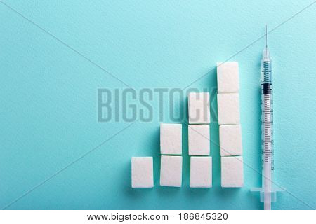 Increased blood sugar and insulin syringe. Empty place for text copy paste
