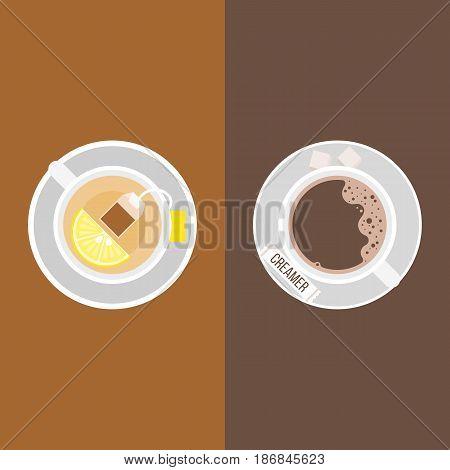 coffee, creamer package and sugar cubes,lemon tea with tea bag and slice of lemon on saucer, flat design vector