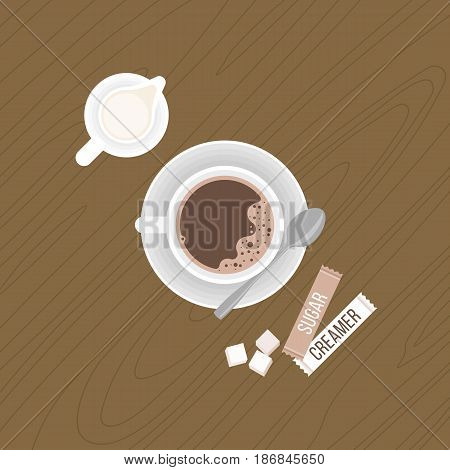 coffee with crema and tea spoon on saucer, milk jug, sugar cubes, package of sugar and  creamer on wooden background, flat design vector