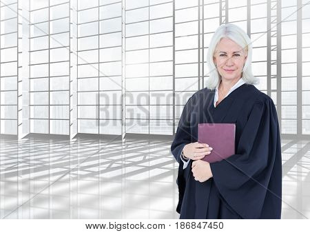 Digital composite of Judge holding book in front of large bright windows