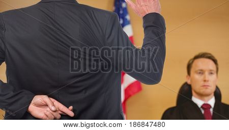 Digital composite of swearing in the judge, with the fingers crossed.