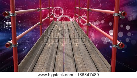 Digital composite of Space interface with 3D Scaffolding