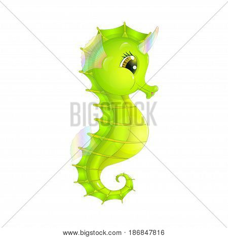 Fairy sea unicorn in the form of a cartoon seahorse with an iridescent horn isolated on a white background
