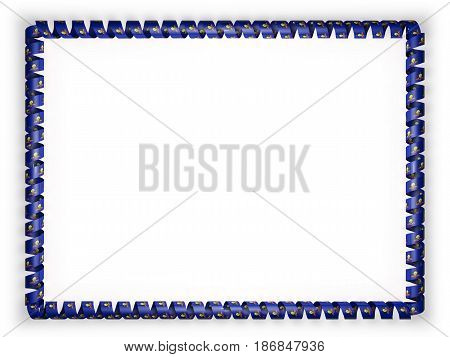 Frame and border of ribbon with the state Pennsylvania flag USA. 3d illustration