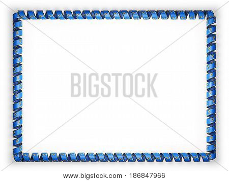 Frame and border of ribbon with the state Oklahoma flag USA edging from the golden rope. 3d illustration