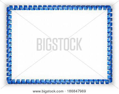 Frame and border of ribbon with the state Oklahoma flag USA. 3d illustration
