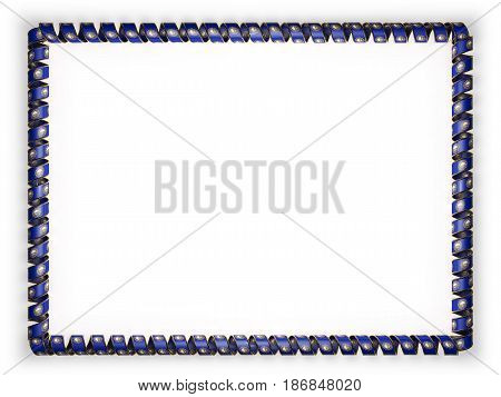 Frame and border of ribbon with the state New Hampshire flag USA edging from the golden rope. 3d illustration