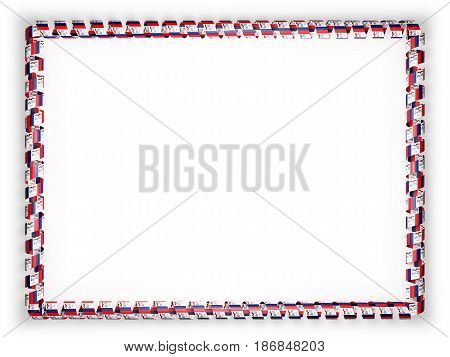 Frame and border of ribbon with the state Iowa flag USA. 3d illustration