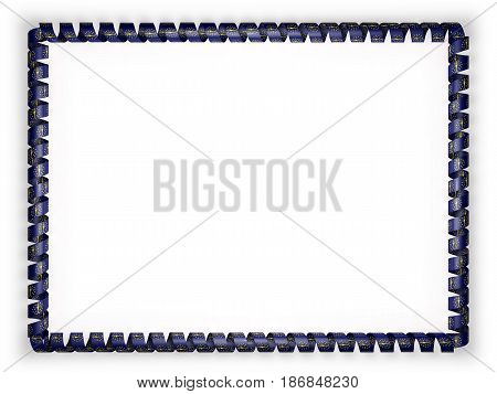 Frame and border of ribbon with the state Indiana flag USA. 3d illustration