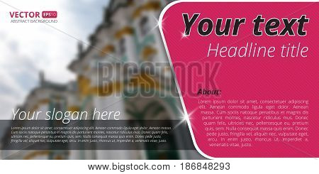 Business flyer template with blur background and place for your text. Use this vector layout for design your website or publications.