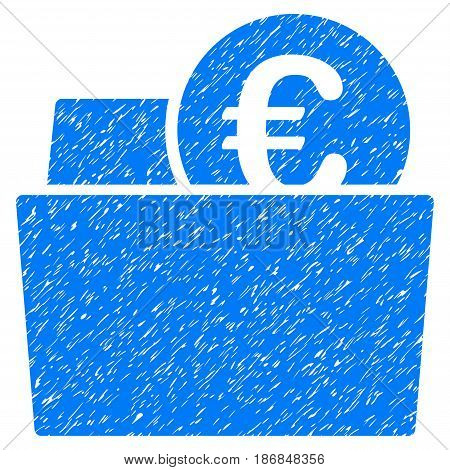 Grunge Euro Wallet icon with grunge design and dust texture. Unclean vector blue pictogram for rubber seal stamp imitations and watermarks. Draft sign symbol.
