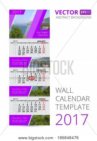 Wall calendar trio vector template with blur background. Vertical template with calendar grid for three months and advertising place. Use this vector layout for your design.