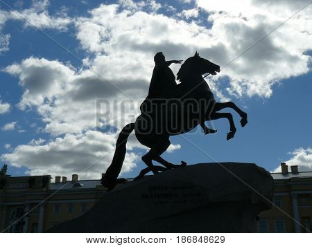 Monument to Peter the great on the banks of the river Neva and the bronze horseman.