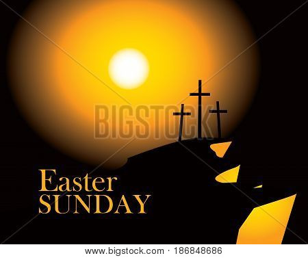 vector banner for easter with Calvary and three crosses against sunset with words Easter sunday