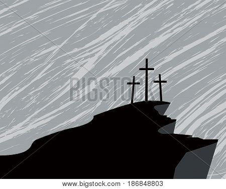 vector banner with silhouette mountain and three crosses on the background of dark rainy sky