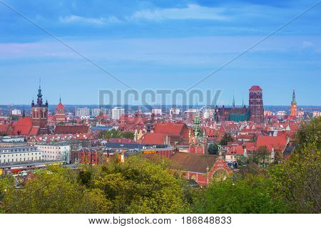 GDANSK, POLAND - MAY 6, 2016: Beautiful city center of Gdansk at dusk, Poland. Gdansk is the historical capital of Polish Pomerania with medieval old town architecture.
